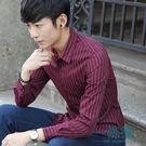 條紋長袖襯衫韓版青年休閒保暖加絨