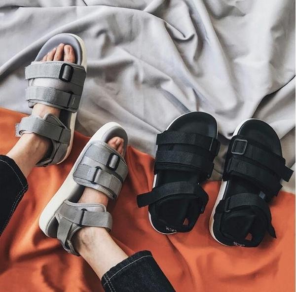 找到自己 MD 韓國 時尚休閒 潮 男 透氣 織帶魔術貼涼鞋 男女情侶 涼鞋 拖鞋 海灘鞋