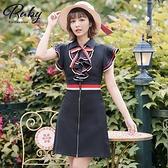 洋裝 學院風領結荷葉無袖洋裝-Ruby s 露比午茶