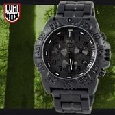 【萬年鐘錶】LUMINOX 雷明時 海豹部隊指標系列 碳纖維三眼計時 鍊帶腕錶 黑x黑43mm  LM-A3082.BO
