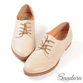 牛津鞋 復古雕花軟底小皮鞋-米