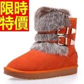 中筒雪靴-兔毛時尚搭扣真牛皮女靴子5色62p58【巴黎精品】