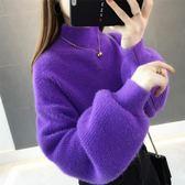 長袖毛衣 小清新毛衣女新款寬鬆套頭慵懶冬季學生外穿短款燈籠袖針織衫 coco衣巷