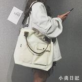 托特包女2019新款日韓文藝布袋包帆布單肩多用包包寬帶斜挎包 aj15146『小美日記』
