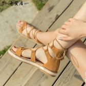 涼鞋復古綁帶鞋平底系帶羅馬鞋