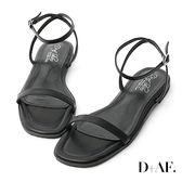 D+AF 純真夏氛.簡約一字繫踝平底涼鞋*黑