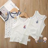 運動背心 兒童棉質竹節棉背心男女寶寶無袖夏季薄款打底內衣上衣三件裝 1色