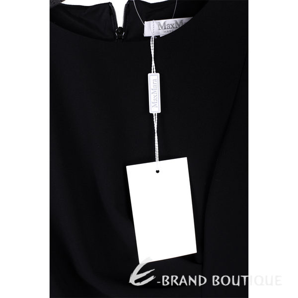 Max Mara 黑色抓褶設計七分袖洋裝 1540517-01