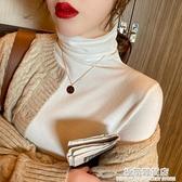 秋冬高領毛衣女新款黑色堆堆領針織衫修身白色內搭洋氣打底衫 雙十二全館免運