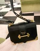 ■專櫃66折■ 全新真品■Prada Cahier 1BD045 小牛皮銅金鑲邊日記本造型兩用包 黑色