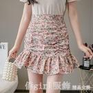 短裙 短裙女春夏季2021年新款時尚高腰a字顯瘦荷葉邊魚尾包臀半身裙子 618購物節