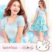 洋裝 Hello Kitty x Ruby 聯名款-碎花印花假兩件短袖洋裝-Ruby s 露比午茶