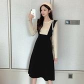 洋裝 韓系秋冬拼接假兩件針織連身裙 花漾小姐【預購】