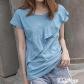 2021夏季裝新荷葉邊短袖寬鬆純棉上衣韓版竹節棉t恤女裝打底衫潮