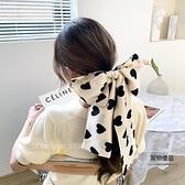 愛心長條絲巾韓版綁頭發寬飄帶多功能裝飾領巾【聚物優品】