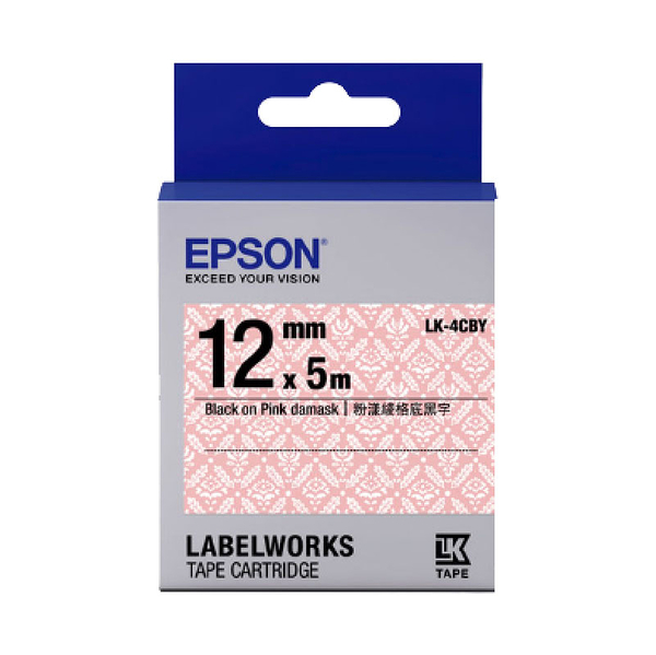 EPSON LK-4CBY C53S654462 Pattern系列標籤帶 粉漾綾格底黑字12mm5M