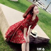 紅色雪紡連身裙女超仙小個子裙子洋裝/E家人