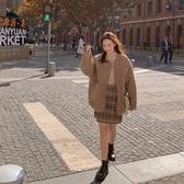 毛呢外套 韓系秋冬羊羔毛寬鬆短大衣 花漾小姐【預購】