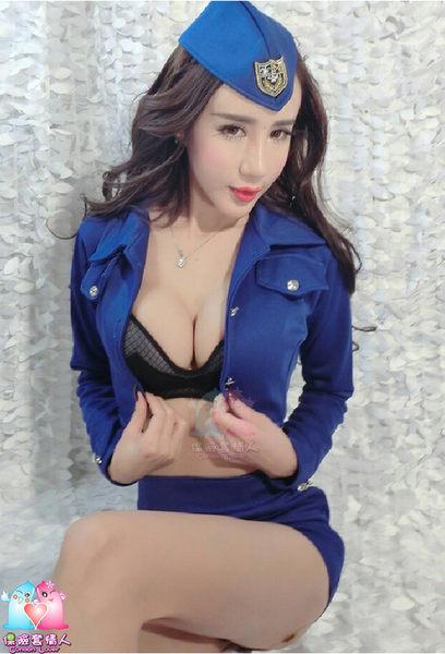 【愛愛雲端】藍長外套誘惑女警服