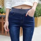 高腰牛仔褲女26-34碼 大碼鬆緊牛仔褲...
