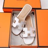 網紅h拖鞋女夏平底時尚外穿新款H涼鞋韓版沙灘旅游鞋一字拖鞋 夢幻小鎮
