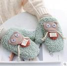 騎行車用連指保暖可愛卡通軟妹學生手套女秋冬季毛絨