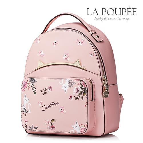 後背包 甜蜜花叢貓咪金屬貓耳朵裝飾後背包 甜美粉-La Poupee樂芙比質感包飾 (預購+好禮)