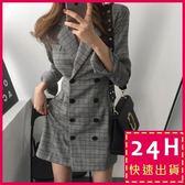 梨卡★現貨 - 秋冬火辣性感英倫風格紋雙排扣中長版縮腰西裝連身裙BR106