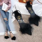 毛毛鞋  毛毛高跟鞋粗跟低跟尖頭韓版中跟一字扣時尚單鞋女  『伊莎公主』