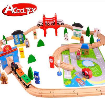 Acool toy精品樺木80p件片城市軌道裝木製湯瑪士小火車實木玩具- 預購