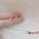 耳釘 馨米婭 精致18k鍍金鑲鉆花朵耳釘不對稱小巧迷你耳骨釘少女感 vk4313