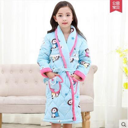 熊孩子☃秋冬季加厚款夾棉睡袍法蘭絨兒童睡衣女童裝寶寶珊瑚絨浴袍家居服(61410)