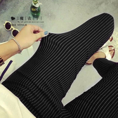 【QV0112】魔衣子-簡約條紋鬆緊腰九分薄款小腳鉛筆褲