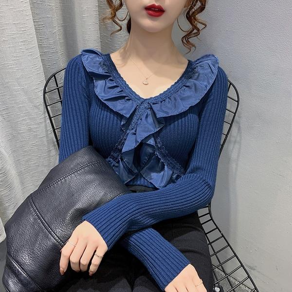 出清388 韓國風百搭荷葉邊拼接修身顯瘦長袖洋裝