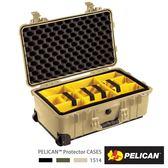 美國 PELICAN 1514 輪座拉桿氣密箱 - 含隔層(沙漠黃)│1510氣密箱 (公司貨)