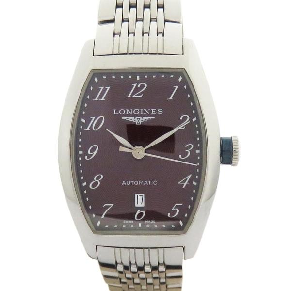 LONGINES Evidenza系列flinque飾紋紫色面盤腕錶 L2.1424【二手名牌 BRAND OFF】