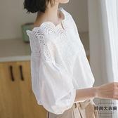 白色襯衫女夏短袖韓版寬鬆露肩一字肩上衣襯衣女設計感刺繡【時尚大衣櫥】