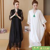 長裙 新款女裝民族風繡花復古中國風連身裙寬鬆大尺碼飄逸長裙子