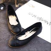 六月芬蘭圓頭荔枝紋經典芭蕾舞鞋蝴蝶結娃娃鞋包鞋平底鞋工作鞋黑色(35-41大尺碼)現貨