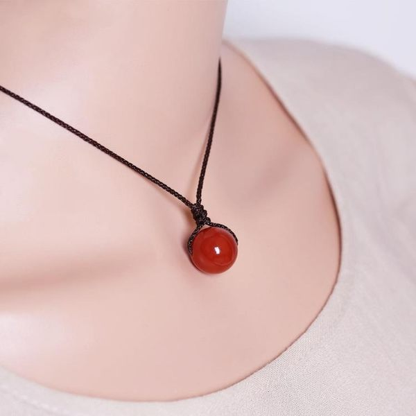 天然紅瑪瑙吊墜項鍊配飾女韓版簡約百搭鎖骨鍊頸鍊森繫小清新飾品        蜜拉貝爾