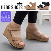 [Here Shoes]涼拖鞋-前2.5後7cm MIT台灣製 交叉面鞋面 魔鬼氈 厚底楔型涼鞋─KCWA305