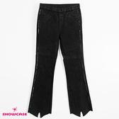 【SHOWCASE】簡約側銀蔥造型毛邊褲口顯瘦小喇叭牛仔褲(黑)