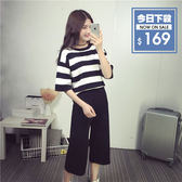 【DIFF】夏季新款韓版兩件式休閒條紋短袖上衣七分褲寬褲套裝【S31】
