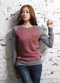 【BTIS】法蘭絨麂皮口袋女長袖T恤 紅色