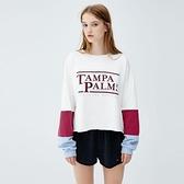 【南紡購物中心】《D Fina 時尚女裝》 寬鬆時尚 撞色拼接袖字母印花衛衣