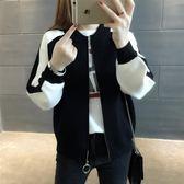 毛衣女 針織毛衣短外套女開衫韓版寬鬆棒球服學生短外套潮   蜜拉貝爾