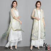 中國風復古印花歐根紗中長款披肩女裝【印象閣樓】