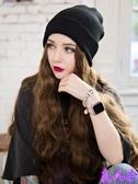 假髮 毛線帽子帶一體女秋冬天款長髮水波紋網紅時尚長卷髮全頭套式【美人季】