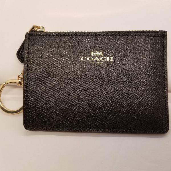 美國 COACH 黑色 PVC 鑰匙零錢包 可放信用卡 悠遊卡 限量特價款 ~$1080