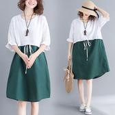 棉麻 綠色拼接顯瘦洋裝 獨具衣格 J2482